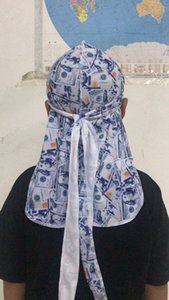 1pcs Durag Headband pirata Hat Bandanas para homens e mulheres de 20 projetos de seda Durags Du-Rag Bandana headwraps Hip hop Caps Wraps Cabeça