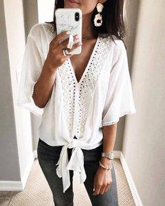 Women White Blouse Summer V-neck Short Sleeve Hollow Out Solid Casual Blouse Top Plus Size Lace Blouse Shirt Roupas Feminina