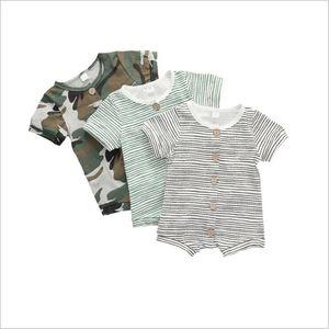 Детская дизайнерская одежда мальчиков Полосатый комбинезон жилет для младенцев Camo Твердые Комбинезоны Комбинезоны Брюки Bodysuits Boutique Цельный Climb Одежда B7609
