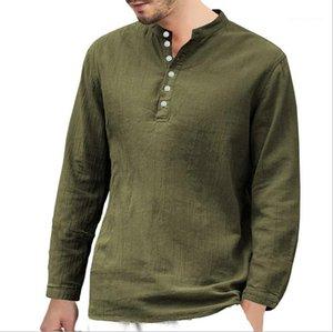 Uzun Kollu Standı Yaka Casual Gömlek Katı Renk Erkek Giyim Erkek 2020 Tasarımcı Lüks Gömlek Spring Tops