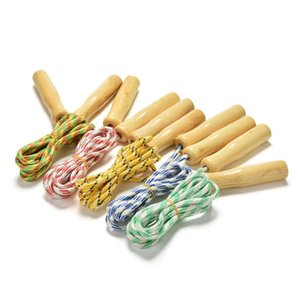 Random Color kipping Rope Wood Handle Children Kid Fitness Equipment Training Practice Speed Jump 2.4M Fast shipping
