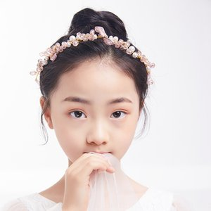 Bride band head pink crystal children's hair band headwear floral headdress crown lace bow hair accessories formal dress accessories