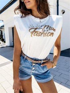 Estate senza maniche O-collo allentato donna T casuali bianche lettere stampate signore Top Hot Drilling Mens magliette