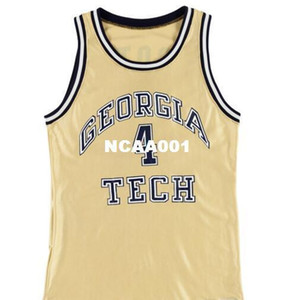 Vintage #4 Circa 1989 Dennis Scott Game Worn University of Georgia Tech Yellow Jackets Jersey or custom any name or number College jersey
