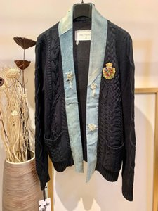 2020 new fashion high-end quality mens knitted cardigan Jacket denim stitching badge embroidery US size mens designer jackets