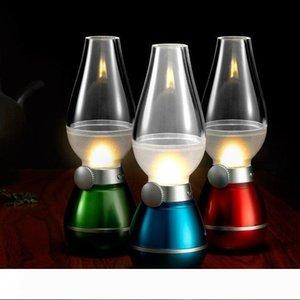 LED Retro Lampada Lampade di illuminazione della novità USB ricaricabile Blowing cherosene Colpo regolabile On-Off Night Light casa