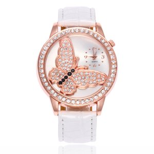 Бабочка шаблон кристалл алмаза женщины дамы женские кожаные часы оптовые студенты моды платье кварцевые наручные часы
