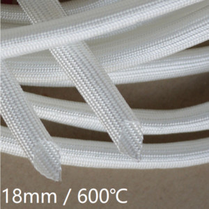 Fiberglass Tube 18mm High Temperature Chemical Glass Fiber Braided Sleeve Soft Wire Casing Insulated Pipe Protect 600Deg.C White