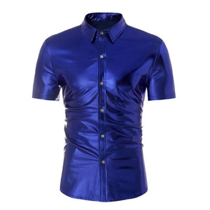 Metallic enduit Royal Blue Shirt Hommes scène de danse Prom Night Club Wear manches courtes Homme Slim Fit élastique T-shirt Chemise Homme