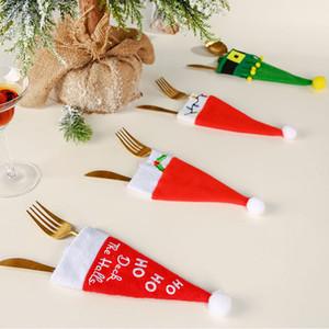 Рождество Hat Таблица украшение Санта-Клаус шляпа Посуда Нож Ложка Вилка сумка Обложка Xmas Party Посуда украшение принадлежность DHF131