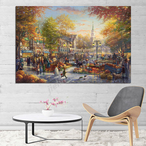 The Pumpkin Festival Autumn Thomas Kinkade Canvas Prints Picture Modular Paintings For Living Room Poster On The Wall Home Decor