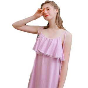 2020 New Cotton Suspender Nightdress For Women Summer Lovely All Cotton Pajamas Loose, Sweet And Fresh, Wear Home Clothes Thin Sling
