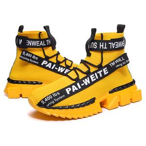 Migliori vendita Moda uomo di lusso scarpe casual comodità sneakers high-top mens del progettista di Hip-hop di jogging Sport a piedi scarpe maglia respirabile