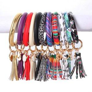 Wristlet Keyring Bracelet Leather Tassel Keychain Holder Bangle Key Ring Monogram Cuff Key Chain Women Girls Fashion Jewelry 28 Designs 4816