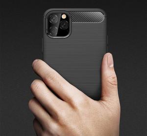 Slim Armor Fibre de carbone Texture TPU brossé Housse de dos souple pour iPhone 11 12mini Pro Max XS XR 8 7 6S Plus