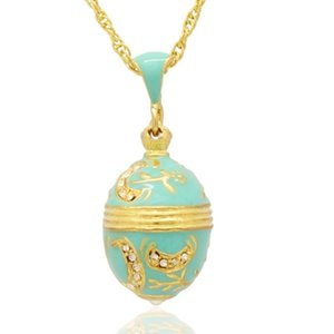 Suitable for European jewelry brand necklace light blue enamel moon handmade Russian egg pendant necklace
