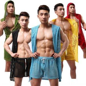 Men bathrobe women's Underwear pajamas Bathrobe pajamas nightgowns sleepshirts casual pajama fishnet sexy without underwear