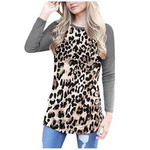 Women Leopard Round Neck T-shirt Occident Fashion Trend Long Sleeve Tops Tee Spring Designer New Female Casual Loose T-shirt