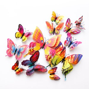 60Pcs Double Layer 3D Butterfly Wall Sticker Magnet Fridge Stickers on The Wall Home Decor Butterflies for Decoration Cheap Price