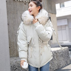 Chaqueta Manley Arty mujeres del invierno cubre con capucha Mujer Parkas invierno mujeres sueltan el cuello de la piel del abrigo esquimal capa del algodón acolchado Chaquetas