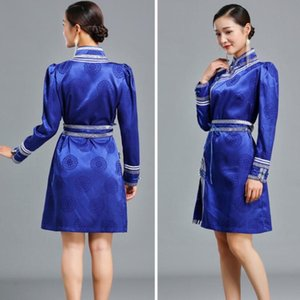 femmes vêtements ethniques cru costume traditionnel festival Mongolian gown mélange oriental de soie cheongsam élégant qipao