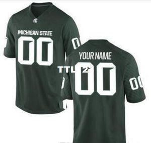 Hombre de encargo, la juventud, las mujeres, niño, Michigan State Spartans personalizada cualquier nombre y número CUALQUIER TAMAÑO Jersey cosido de calidad superior de la universidad