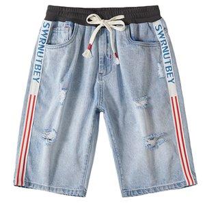 جديد أزياء الرجال الصيف جينز قصير الشارع الشهير الهيب هوب أوم ثقوب عارضة سراويل الجينز على التوالي بالاضافة الى حجم 42