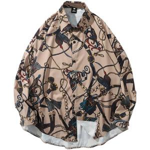 Januarysnow 2019 Hip Hop Shirt Streetwear Oversized Men Harajuku Vintage Print Hawaiian Shirts Long Sleeve Autumn Tops Shirts Loose