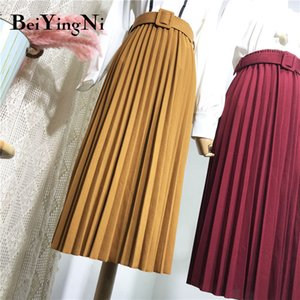 Beiyingni High Waist Women Skirt Casual Vintage Solid Belted Pleated Midi Skirts Lady 11 Colors Fashion Simple Saia Mujer Faldas T200712