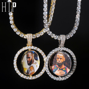 Hip Hop Custom Made photo en mouvement rotatif à double face Iced BLING cubique Zircon NecklacePendant Hommes Bijoux Tennis Chaîne CX200725