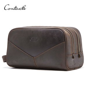 CONTACT'S crazy horse genuine leather men cosmetic bag travel toiletry bag big capacity wash bags man's make up bags organizer CX200711