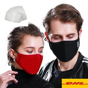 США со Проектировщик моющийся маска против загрязнения хлопка Mouth маски с РМ2,5 Угольные фильтры Регулируемый эластичный Респиратор ткань маски