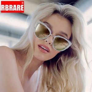 Moda Big Quadro RBRARE Rosa Espelho Óculos de sol Mulheres Marca Designer olho de gato Metal Frame menina óculos de sol de Mulheres Brown Gradient