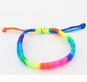 Bracelets For Women Fashion Colorful Candy Color Rainbow Style Adjustable Knitted Rope Chain Bracelets Wholesale Drop Shipping