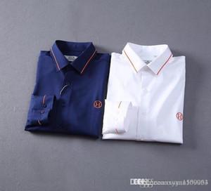 Autumn men's mercerized cotton long-sleeved lapel shirt solid color business casual slim cotton shirt