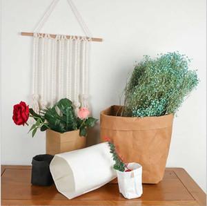 3pcs Lavable Kraft sac de papier Grand sac de rangement pour l'usine de légumes Cultivez Pot de fleurs Panier couverture Vêtements de bébé à jouets