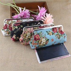 Rose printing Coin Purses Long size Canvas Bags Cloth Fashion Wallets Handbag Key Holder Headphone Pouch Pockets