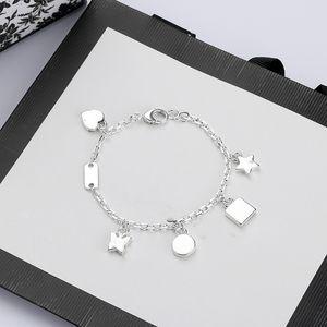 Alta calidad de cadena de plata pulsera Placa de la estrella del regalo de la mariposa Top pulsera de cadena joyería de la pulsera manera de la fuente