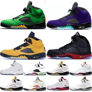 Jumpman 5 5s баскетбол обувь для мужчин Oregon Ducks Fab 5 SP Michigan Silk Бред Alternate Grape 2020 Огонь Красный Mens тренеров кроссовки
