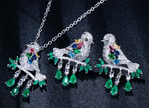 fashion branch and bird zircon Earring Necklace two piece wedding jewelry ladies banquet set decoration gift