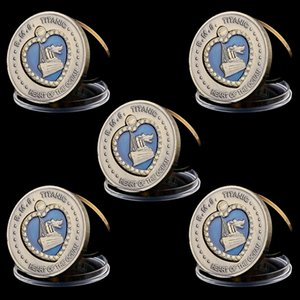 5pcs 1912 RMS britannico dell'Oceano Titanic Rose placcato bronzo antico cuore Blue Diamond Souvenir Coins Collectio