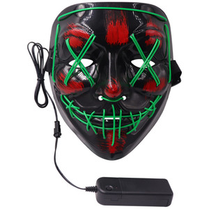 Colplay LED Parti EL Tel Kafatası Hayalet Yüz Scary Halloween Glow Masquerade Işık Flaş Parlayan Grimace Korku parti sahne Maske Maske