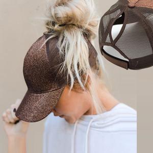 Glitter Ponytail Baseball Cap Women Snapback Dad Hat Caps Messy Mesh Trucker Bun Summer Hat Female Adjustable Hip Hop Hats