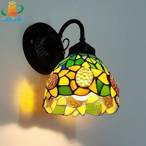 """6"""" Passage Tiffany Wall Lamp LED Sconces vitral Corredor Luz girassol espelho Lâmpada de frente do E26 110V Luzes Galeria de parede"""