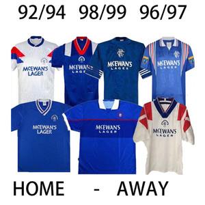 92 94 Glasgow Rangers Retro soccer jerseys 96 97  98 99 01 #8 GASCOIGNE #11 LAUDRUP #9 MCCOIST Soccer Shirts#3 ALBERTZ Awayfootball Uniforms