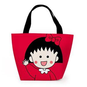 تشي ثنائية Maruko موضة الأحمر مخصص الغداء أكياس الكرتون الدافئة حقيبة التخزين المحمولة بنات للجنسين
