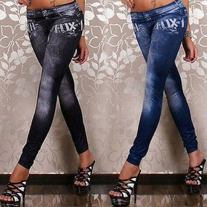 Fashion New Women Knitted Ladies Sexy Polyester Casual Jeans Skinny Jeggings Stretchy Slim Leggings Pants Trousers