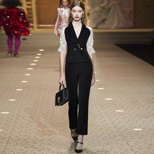 Gedivoen Fashion Runway Summer Suit Women Turn-down Collar Belt Slim Coat+Long Pants Sets Office Lady 2 TwoPiecesSet