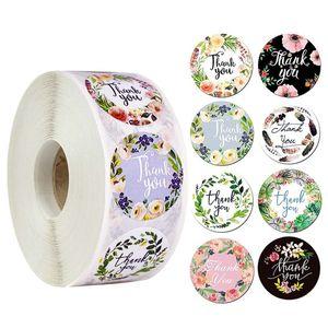 500pcs / rouleau Merci autocollant style différent Seal Étiquette bricolage décoration et gâteau cadeau cuisson DHE10 diamètre Paquet