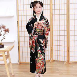 Japanese Kimono Bathrobe Gown Girl Summer New Satin Robe Cosplay Costume Yukata With Obitage Silky Long Evening Party Dress